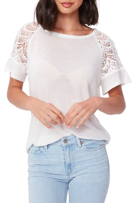 Paige Finley Crochet Lace Sleeve Top