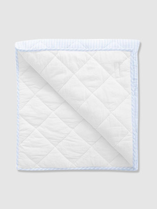 Louelle Reversible Pale Blue Gingham + White Linen Play Mat / Quilt