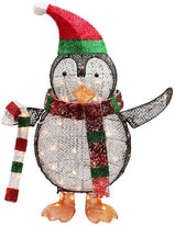 Asstd National Brand 34 Lighted Penguin With Candy Cane Yard Art