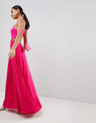 Asos Design DESIGN scuba top tassel back pleated maxi dress-Pink
