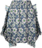 Comme des Garcons Tyvec floral embroidered skirt - women - Polyester/Cupro - S