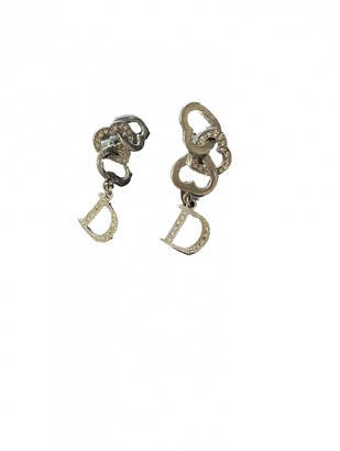 Christian Dior Oblique Silver Metal Earrings