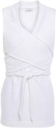 Brunello Cucinelli Cold-shoulder Embellished Linen And Silk-blend Top