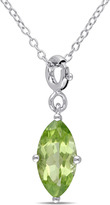 Julianna B 1 2/3 CT TW Peridot Sterling Silver Enhancer Solitaire Pendant Necklace