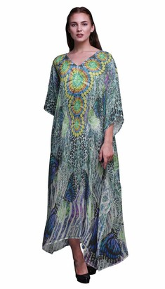 Phagun Butterflies & Leopard Animal Skin Womens Long Beach Kaftan Beachwear Bikini Coverup Maxi Dress-XL3X Turquoise Blue