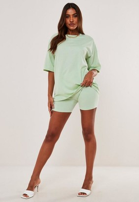 Missguided Green Oversized T Shirt And Biker Short Co Ord Set