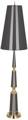 """Jonathan Adler Versailles 68.75"""" Floor Lamp Base Finish: Ash Lacquered/Modern Brass, Shade Color: Ash Painted Opaque Parchment/Matte Go"""