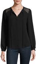 Neiman Marcus Long-Sleeve Lace-Panel Tunic, Black
