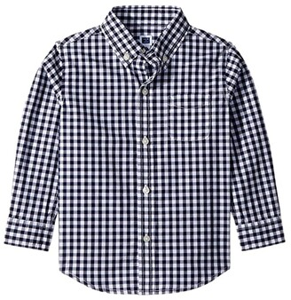 Janie and Jack Long Sleeve Button Down Shirt (Toddler/Little Kids/Big Kids) (Navy Gingham) Boy's Long Sleeve Button Up