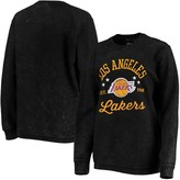 G Iii Women's G-III Sports by Carl Banks Black Los Angeles Lakers Slouchy Comfy Cord Crewneck Pullover Sweatshirt