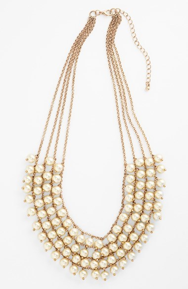 Stephan & Co Multistrand Faux Pearl Statement Necklace (Juniors)