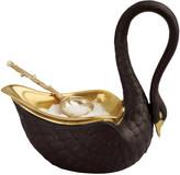 L'OBJET Swan Salt Cellar & Gold Plated Spoon - Black