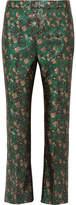 Prada Metallic Floral-jacquard Flared Pants - Green
