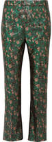 Prada Metallic Floral-jacquard Flared Pants