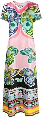 La DoubleJ Butterfly-Print Long Dress
