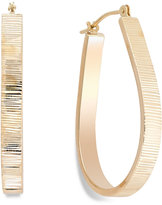 Macy's Ribbed Pear Hoop Earrings in 10k Gold, 28mm