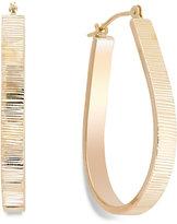 Macy's Ribbed Pear Hoop Earrings in 10k Gold, 28mm