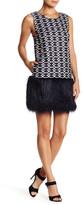 Romeo & Juliet Couture Faux Fur Trim Jacquard Knit Dress