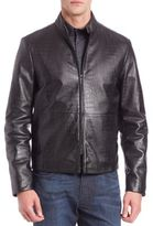 Armani Collezioni Croc Embossed Leather Jacket
