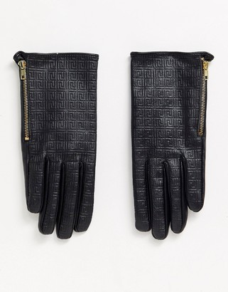 ASOS DESIGN leather monogram gloves with touch screen