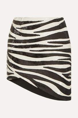 Saint Laurent Asymmetric Zebra-print Sequined Crepe Mini Skirt - Black