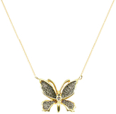 Black Diamond London Road 9ct Gold Diamond Butterfly Pendant Necklace, Gold