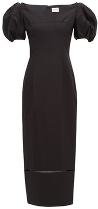 KHAITE Allison Puff-sleeve Cotton Midi Dress - Black