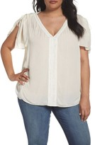 NYDJ Plus Size Women's Lace Flutter Sleeve Top
