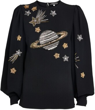 Andrew Gn Bell-Sleeved Embellished Planets Top