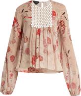 Giambattista Valli Botanical floral-print silk-georgette blouse