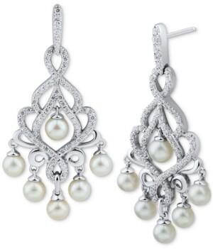 Arabella Cultured Freshwater Pearl (4-4-1/2mm) & Swarovski Zirconia Chandelier Drop Earrings in Sterling Silver