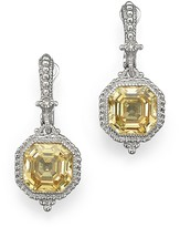 Judith Ripka Estate Ascher Cut Stone Earrings with Canary Crystal