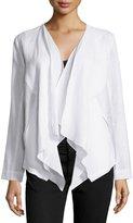 Neiman Marcus Linen Draped Open Jacket, White