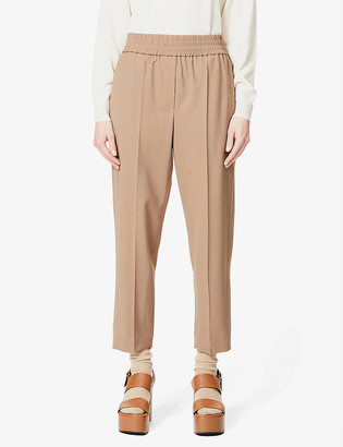 Brunello Cucinelli Relaxed-fit tapered cropped wool-blend trousers