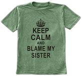 Urban Smalls Heather Green 'Keep Calm & Blame My Sister' Tee - Toddler & Boys