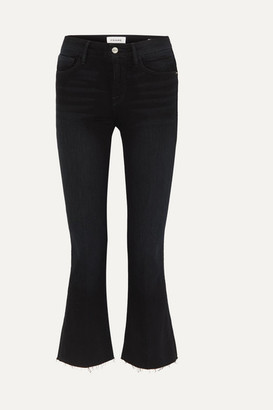 Frame Le Crop Mini Boot Frayed High-rise Jeans - Black