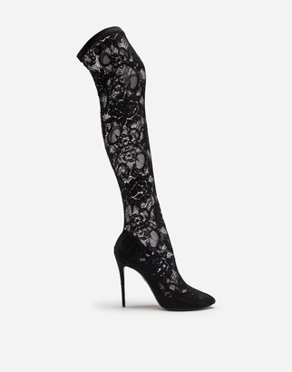 Dolce & Gabbana Stretch Lace And Gros Grain Boots