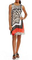 Calvin Klein Geometric Leopard Print Mix Inverted Pleat A-Line Dress