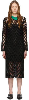 3.1 Phillip Lim Black Wool Open Knit Polo Maxi Dress