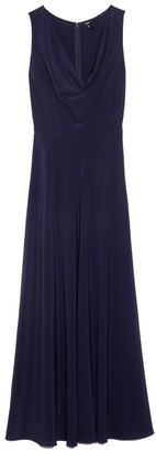 Aspesi Cowl Neck Gown in Navy Solid