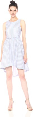 J.o.a. Women's Asymmetric Stripe Dress Blue/Multi Small