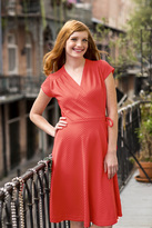 Shabby Apple French Quarter Wrap Dress Textured Coral