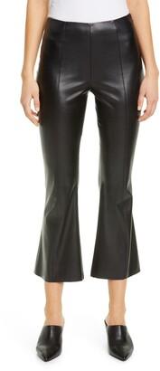 Fuzzi Faux Leather Crop Flare Pants