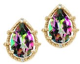 Tommaso design Studio Tommaso Design Pear Shape 10x7mm Mystic Rainbow Topaz and Diamond Earrings 14k