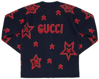 Gucci Wool Blend Knit Cardigan W/ Lurex