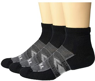 Thorlos 12 Hour Shift Mini Crew 3-Pair Pack (Black/Grey) Crew Cut Socks Shoes