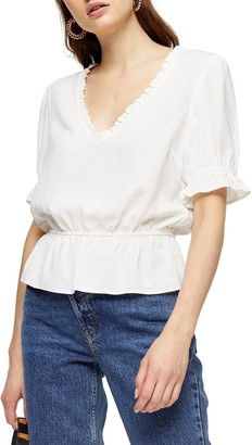 Topshop Morgan Ruffle Trim Peplum Top