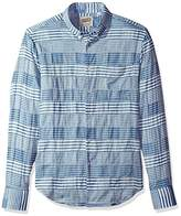 Naked & Famous Denim Men's Striped Windowpane Long Sleeve Button Down Shirt