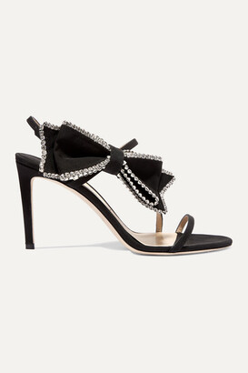 Jimmy Choo Sarara 85 Crystal-embellished Grosgrain And Suede Sandals - Black
