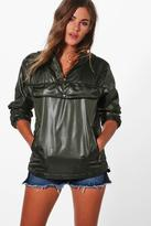 boohoo Julia Overhead Coated Rain Mac khaki